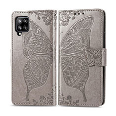 Leather Case Stands Flip Cover L03 Holder for Samsung Galaxy A42 5G Gray