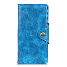 Leather Case Stands Flip Cover L03 Holder for Samsung Galaxy M21s Sky Blue