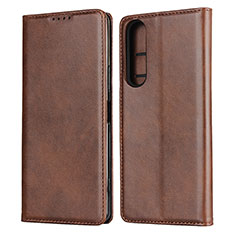 Leather Case Stands Flip Cover L03 Holder for Sony Xperia 1 II Brown
