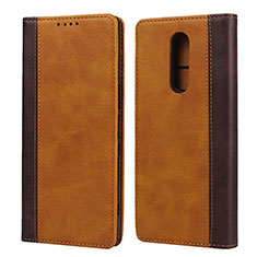 Leather Case Stands Flip Cover L03 Holder for Sony Xperia 1 Orange