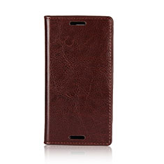 Leather Case Stands Flip Cover L03 Holder for Sony Xperia XZ1 Compact Brown