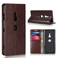 Leather Case Stands Flip Cover L03 Holder for Sony Xperia XZ3 Brown