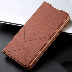 Leather Case Stands Flip Cover L03 Holder for Vivo X50 Lite Brown