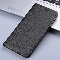 Leather Case Stands Flip Cover L03 Holder for Vivo X50e 5G Black