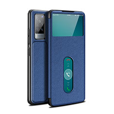 Leather Case Stands Flip Cover L03 Holder for Vivo X60 5G Blue