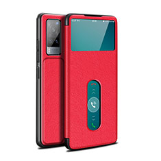 Leather Case Stands Flip Cover L03 Holder for Vivo X60 5G Red