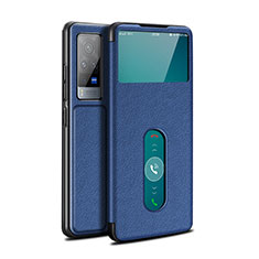 Leather Case Stands Flip Cover L03 Holder for Vivo X60 Pro 5G Blue