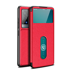 Leather Case Stands Flip Cover L03 Holder for Vivo X60 Pro 5G Red