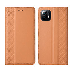 Leather Case Stands Flip Cover L03 Holder for Xiaomi Mi 11 5G Orange