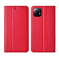 Leather Case Stands Flip Cover L03 Holder for Xiaomi Mi 11 5G Red