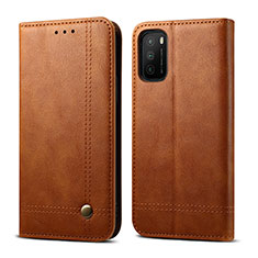 Leather Case Stands Flip Cover L03 Holder for Xiaomi Poco M3 Light Brown