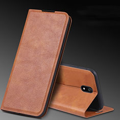Leather Case Stands Flip Cover L03 Holder for Xiaomi Redmi 8A Brown