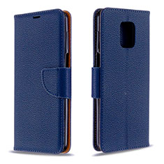 Leather Case Stands Flip Cover L03 Holder for Xiaomi Redmi Note 9 Pro Blue