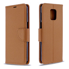 Leather Case Stands Flip Cover L03 Holder for Xiaomi Redmi Note 9 Pro Max Brown