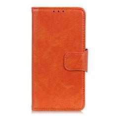 Leather Case Stands Flip Cover L04 Holder for Alcatel 3 (2019) Orange