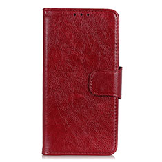 Leather Case Stands Flip Cover L04 Holder for Alcatel 3 (2019) Red