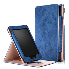 Leather Case Stands Flip Cover L04 Holder for Amazon Kindle Paperwhite 6 inch Blue