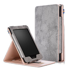 Leather Case Stands Flip Cover L04 Holder for Amazon Kindle Paperwhite 6 inch Gray