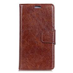 Leather Case Stands Flip Cover L04 Holder for Asus ZenFone Live L1 ZA550KL Brown
