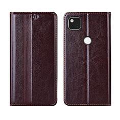 Leather Case Stands Flip Cover L04 Holder for Google Pixel 4a Brown