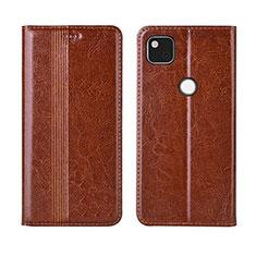 Leather Case Stands Flip Cover L04 Holder for Google Pixel 4a Light Brown