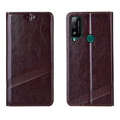 Leather Case Stands Flip Cover L04 Holder for Huawei Honor Play4T Brown