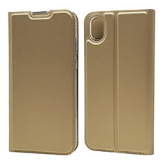 Leather Case Stands Flip Cover L04 Holder for Huawei Y5 (2019) Gold