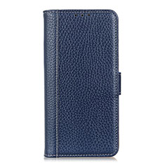 Leather Case Stands Flip Cover L04 Holder for Huawei Y6p Blue