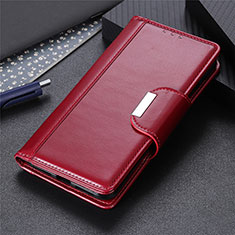 Leather Case Stands Flip Cover L04 Holder for Huawei Y8s Red Wine