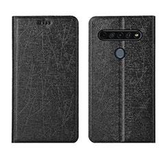 Leather Case Stands Flip Cover L04 Holder for LG K61 Black