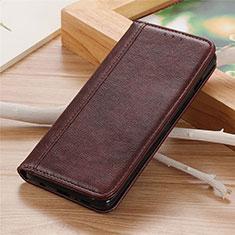 Leather Case Stands Flip Cover L04 Holder for Motorola Moto G 5G Brown