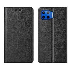 Leather Case Stands Flip Cover L04 Holder for Motorola Moto One 5G Black