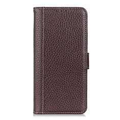 Leather Case Stands Flip Cover L04 Holder for Motorola Moto One Fusion Brown