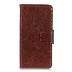 Leather Case Stands Flip Cover L04 Holder for Motorola Moto One Fusion Plus Brown