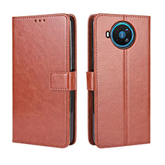 Leather Case Stands Flip Cover L04 Holder for Nokia 8.3 5G Brown