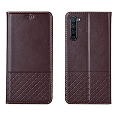 Leather Case Stands Flip Cover L04 Holder for Oppo K7 5G Brown