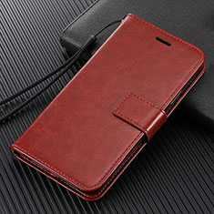 Leather Case Stands Flip Cover L04 Holder for Oppo Reno4 Z 5G Brown