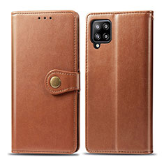 Leather Case Stands Flip Cover L04 Holder for Samsung Galaxy A42 5G Brown