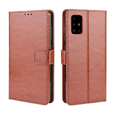 Leather Case Stands Flip Cover L04 Holder for Samsung Galaxy A51 5G Brown