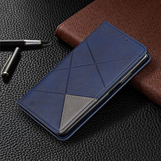 Leather Case Stands Flip Cover L04 Holder for Samsung Galaxy M21 Blue