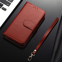Leather Case Stands Flip Cover L04 Holder for Samsung Galaxy S20 Plus 5G Brown