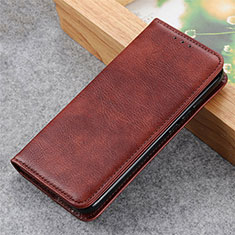 Leather Case Stands Flip Cover L04 Holder for Samsung Galaxy S21 5G Brown