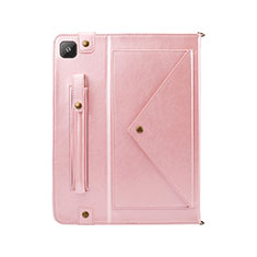 Leather Case Stands Flip Cover L04 Holder for Samsung Galaxy Tab S6 Lite 4G 10.4 SM-P615 Rose Gold