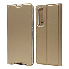 Leather Case Stands Flip Cover L04 Holder for Sony Xperia 1 II Gold
