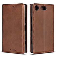 Leather Case Stands Flip Cover L04 Holder for Sony Xperia XZ1 Compact Brown