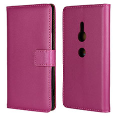 Leather Case Stands Flip Cover L04 Holder for Sony Xperia XZ2 Hot Pink