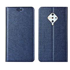 Leather Case Stands Flip Cover L04 Holder for Vivo X50 Lite Blue