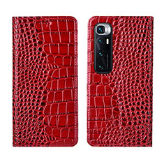 Leather Case Stands Flip Cover L04 Holder for Xiaomi Mi 10 Ultra Red