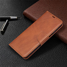 Leather Case Stands Flip Cover L04 Holder for Xiaomi Redmi Note 9 Pro Brown