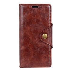Leather Case Stands Flip Cover L05 Holder for Alcatel 5V Brown